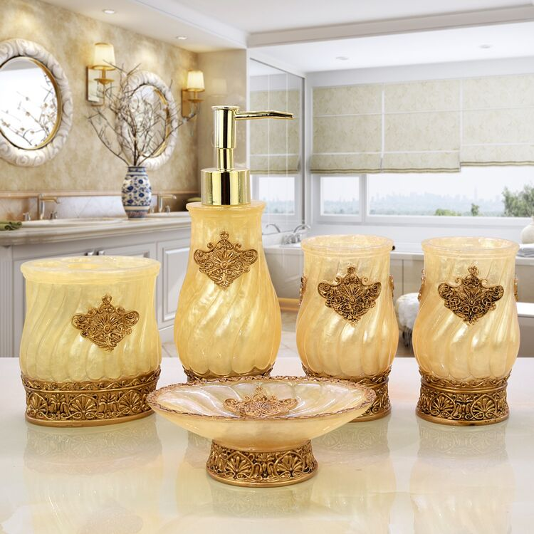 5 pièces résine salle de bains accessoires ensembles/porte-savon/distributeur de savon/porte-dentifrice/salle de bains gobelets/produits de salle de bains cadeaux