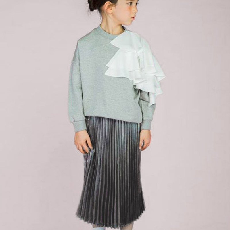 Fashion Kids Girls Pleated Long Skirts 2018 New Summer Children Vintage Skirts For Baby Girl Bohemian Party Maxi Skirt