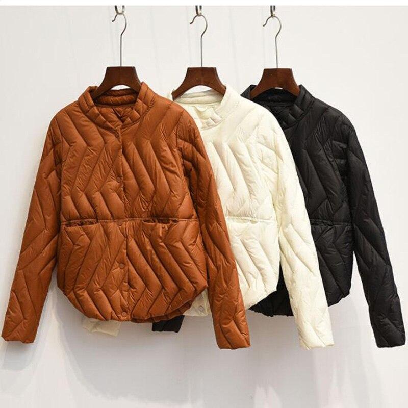 2018 Winter Plus Size Womens Ultra Light Down Jackets Short 90% White Duck Down Coat Autumn O-neck Thin Puffer Jacket Parkas