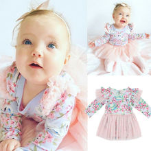 Infant Baby Girls Flower Long Sleeve Lace Tulle Dress Party Tutu Tops Dresses cute Pretty Flower Princess Party Prom cute baby girls pink princess dresses autumn summer party long sleeve 3d heart tulle tutu dress ball gown dresses 2 7y
