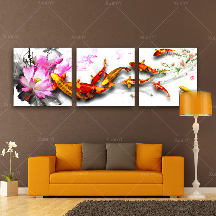 3 Piece Picture Painting Art Canvas Wall Beautiful Lotus Nine Carps Landscape Scenery For Living
