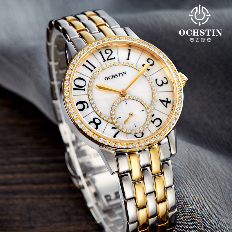 купить 2017 Sale Brand Ochstin Relogio Feminino Clock Female Stainless Steel Watch Ladies Fashion Casual Quartz Wrist Women Watches по цене 3564.07 рублей