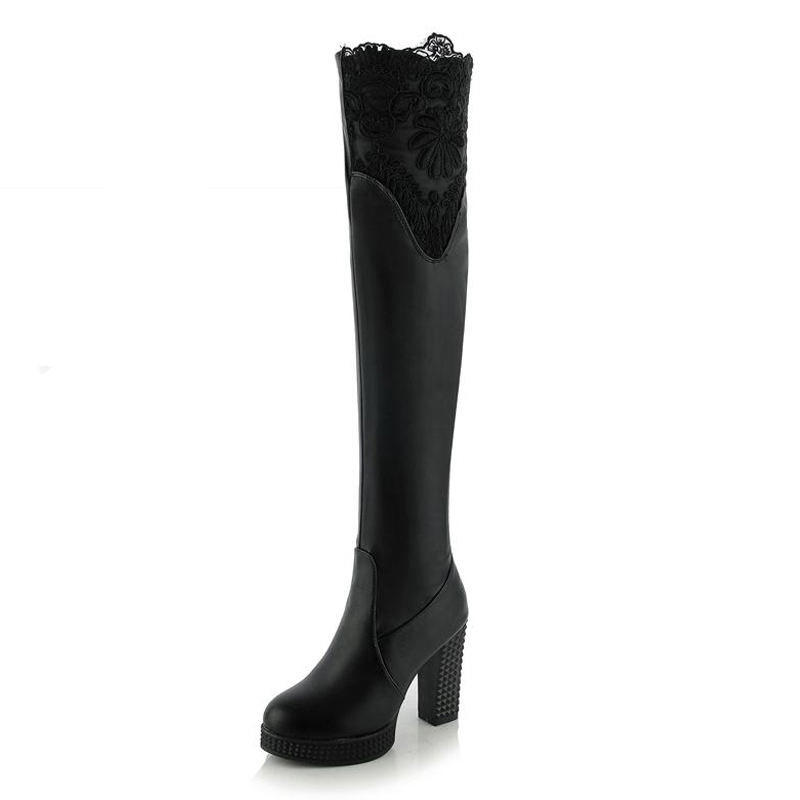 ФОТО Big Size 33-43 Thick High Heels Lace Over the Knee Boots Add Fur Fall Winter Boots Fashion Platform Female Footwear Shoes Woman