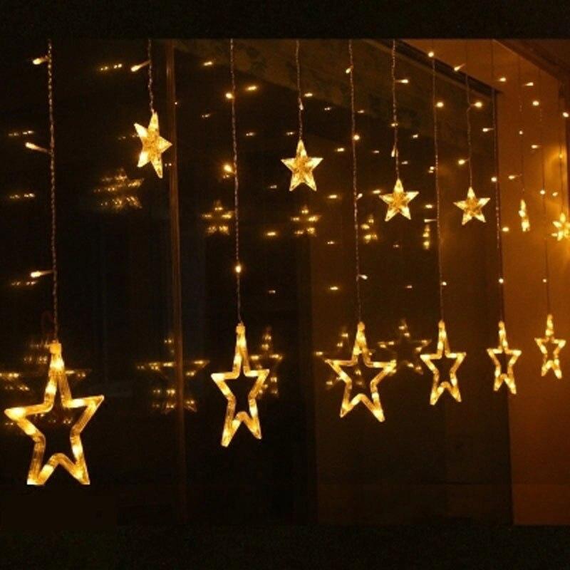 2.5 m 12 étoiles 138 LED rideau glaçon Festival vacances lumières noël fée guirlandes Guirlande Lumineuse de mariage fête d'anniversaire