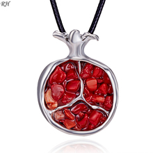 лучшая цена Vintage Silver Necklace For Women Jewelry Accessories Pomegranate Flower Garnet Necklace Pendant Long Sweater Chain Leather Rope