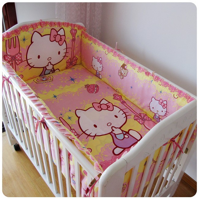ФОТО Promotion! 6PCS Hello Kitty Baby crib bedding set 100% cotton baby bedding set (bumper+sheet+pillow cover)