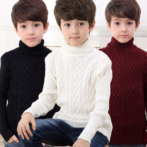 Image 1 - 2020 New Autumn Winter Boys Sweater Long Sleeved Round Collar Pullover Sweater Pure Color Knitting Fashion Children Clothes