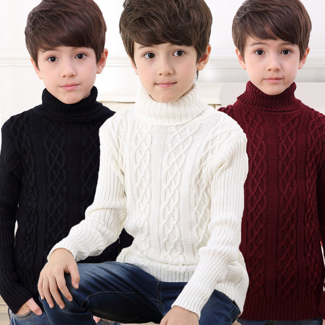2020 New Autumn Winter Boys Sweater Long Sleeved Round Collar Pullover Sweater Pure Color Knitting Fashion Children Clothes