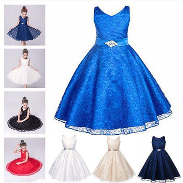 6 Colors Girls Hollow Lace Flower Dresses Girl Bridesmaid Pageant Wedding  Party Gown Formal Dresses Multi 119a0dc14c18