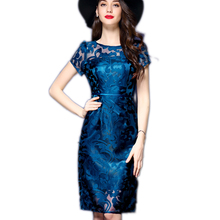 High quality New 2017 women Summer Lace dress work office Elbise Vestiti Donna Temperament Casual Gauze embroidery Party dress