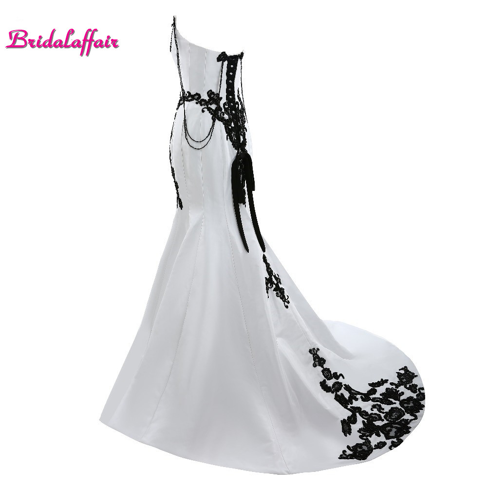 Bridalaffair Real Photo Black Appliques White Satin Sweetheart   Prom     Dresses   2017 Simple Design Sweep Train Mermaid Party Gowns