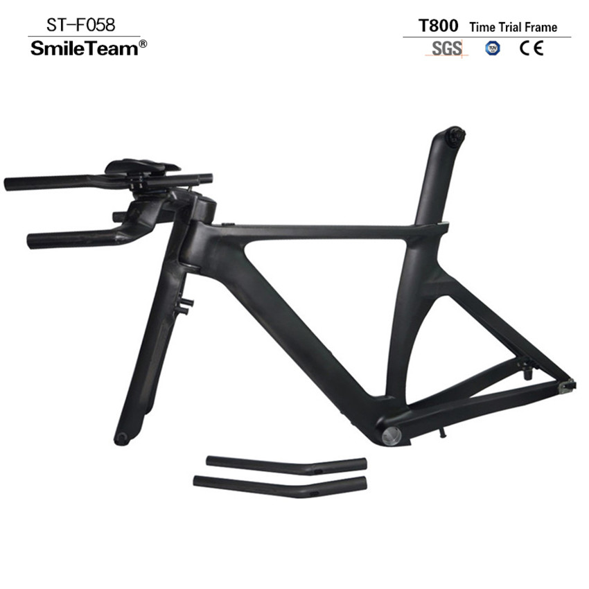 все цены на  Smileteam New Carbon Road Bicycle TT Frame Carbon Time Trial Road Bike Frame Size 45/48/51/53cm Free Shipping EN SGS Test  в интернете