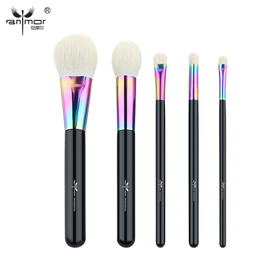 Anmor Goat Hair 5 PCS Makeup Brushes Set Essential High Quality Make Up Brush Tools CFCB
