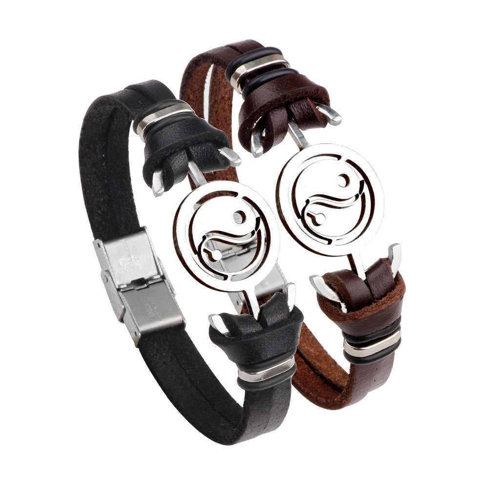 SIZZZ 22 cm długości ze stali nierdzewnej Taiji Yin i Yang plotek bransoletka ze stali nierdzewnej stalowa bransoletka dla kobiet i mężczyzn