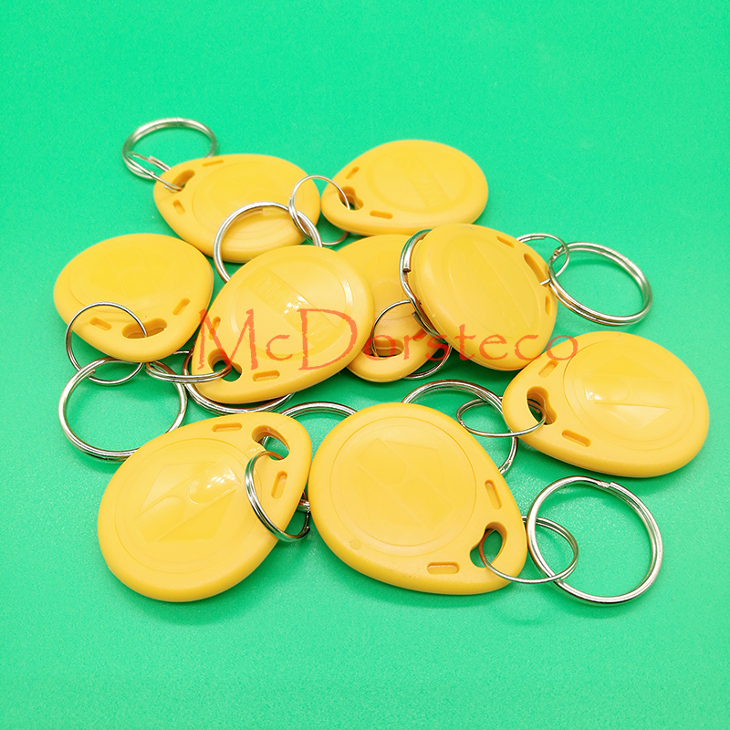 10 pcs TK4100 Read only 125kHz RFID ID Card Key Keyfobs Access Control Tag Yellow Access Control Key Only non standard die cut plastic combo cards die cut greeting card one big card with 3 mini key tag card