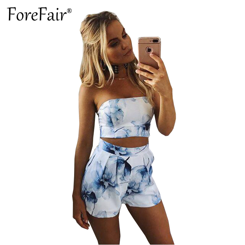 Forefair Women 2 Two Piece Outfits Set Sexy Skinny Tube Crop Top And Pocket Short Set Summer 2018 Floral Print White Shorts Suit