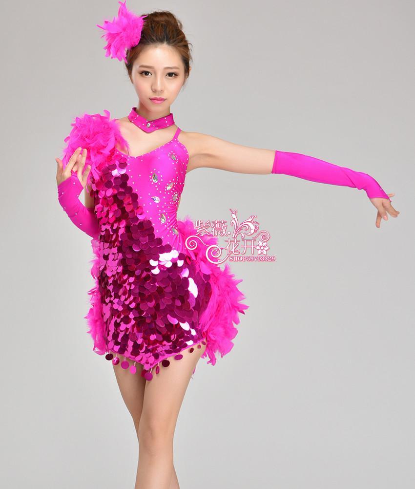 Chica Latino danza Vestidos para lentejuelas/pluma estilo cha/rumba ...