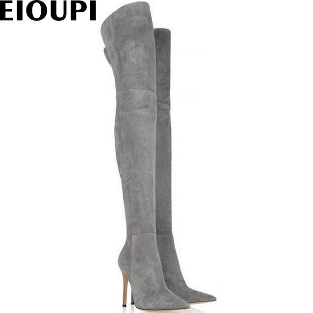 EIOUPI primavera autunno inverno snow boots nubuck suede flock donne sopra il ginocchio stivali a metà coscia Odfa0436