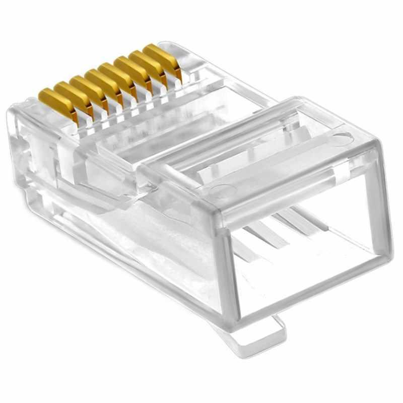 Cat5e UTP 8P8C RJ45 コネクタゴールドメッキ非常に透明 30 個ネットワークケーブルシールドなしモジュールプラグ
