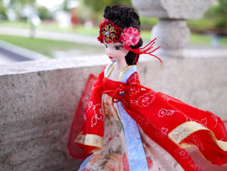 A0351 Best girl gift in box Kurhn Chinese Doll Spring Fairy Chinese Gift Traditional Dress with red bride wedding dress 1pcs