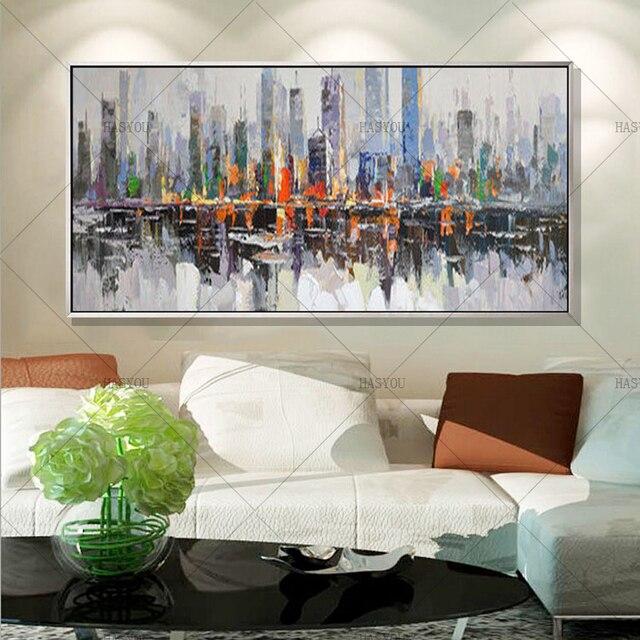 2017 Nowoczesne Ręcznie Malowane Duży Długi New York City Krajobraz