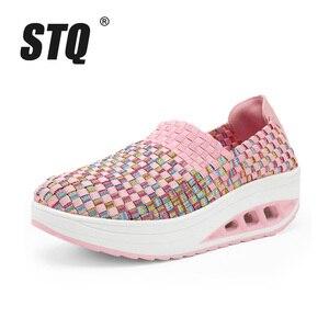 Image 2 - STQ 2020 Autumn Women Casual Shoes Women Wove Platform Shoes Ladies Fashion Slip On Sneakers Shoes Breathable Walking Shoes 1668