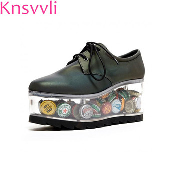 Transparent Bottom Personality Lace-UP Platform Shoes Women Can Be Placed Adornment Black Cowhide Heteromorphic Heel Ladies Shoe Обувь