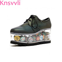 Transparent Bottom Personality Lace UP Platform Shoes Women Can Be Placed Adornment Black Cowhide Heteromorphic Heel Ladies Shoe