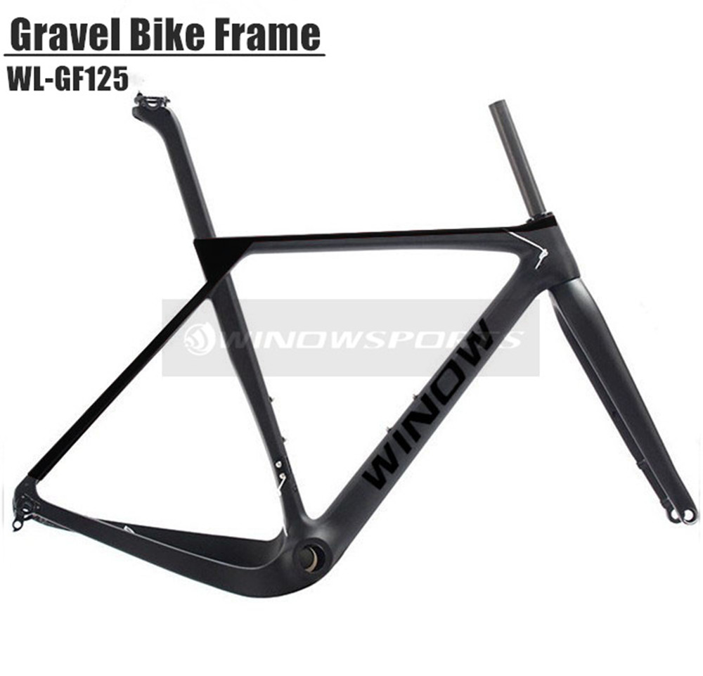 2018 winow Newest Road MTB Gravel Full Carbon Bike Frame, Gravel Carbon Bicycle Frame, Cyclocross Disc Frame With Thru Axle/QR 2017 flat mount disc carbon road frames carbon frameset bb86 bsa frame thru axle front and rear dual purpose carbon frame