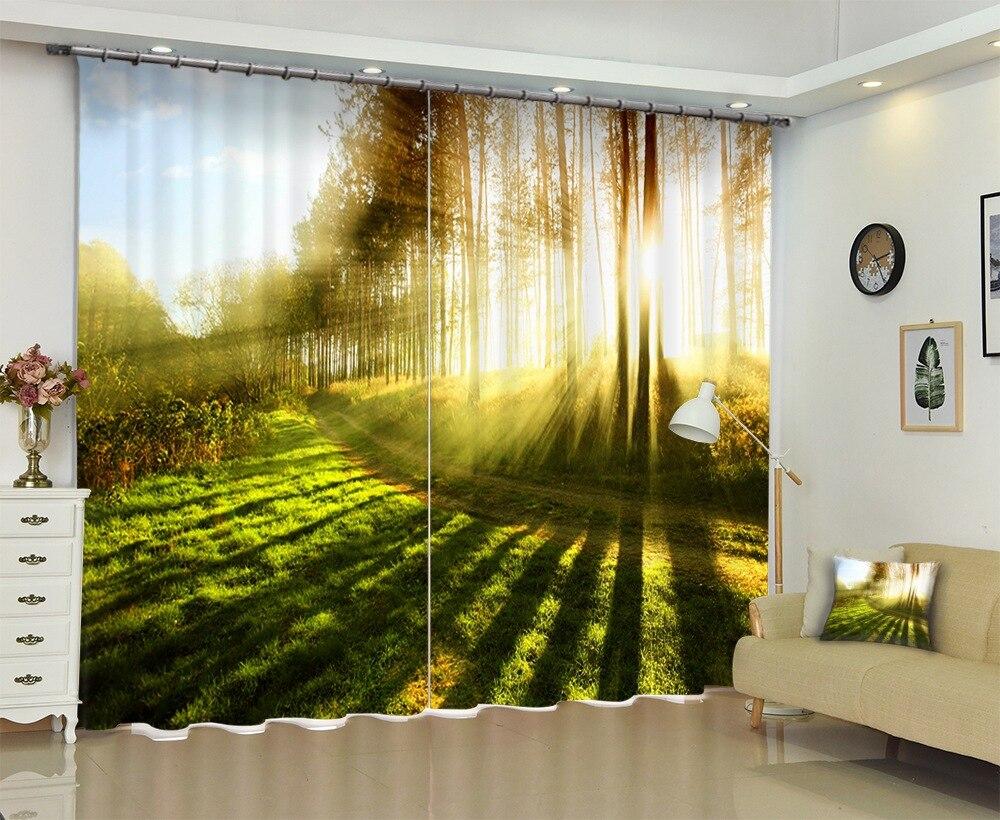 Photo de la lumière du matin à travers les arbres rideau de fenêtre 3D pour la literie salon rideaux rideaux pare-soleil rideau de fenêtre