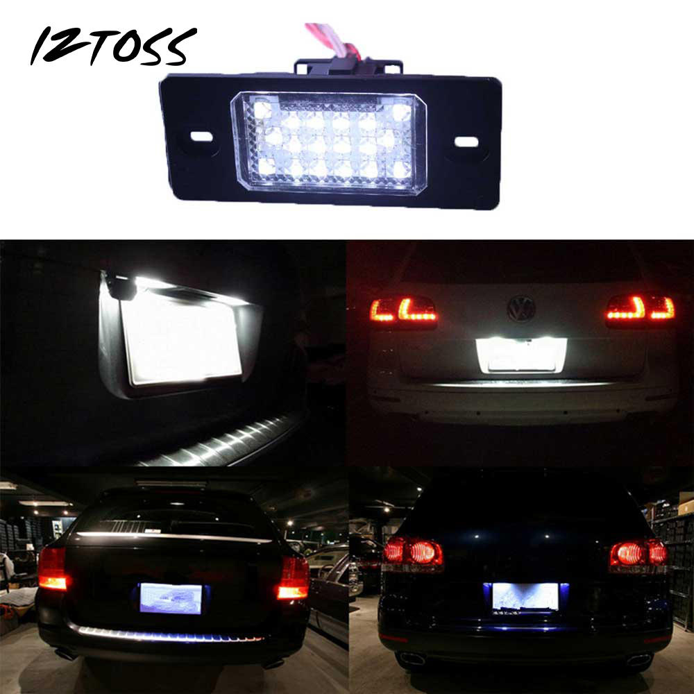 IZTOSS Error Free 18 3528 LED License Plate Light Lamp For VW Touareg Tiguan Golf Passat Porsche Cayenne 955 957 Audi TT no error car led license plate light number plate lamp bulb for vw touran passat b6 b5 5 t5 jetta caddy golf plus skoda superb