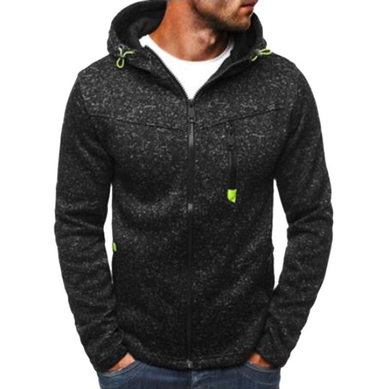 Running Jacket Hoodies Solid-Cardigan Zipper Sweatershirt Fitness Sport Coat New Male