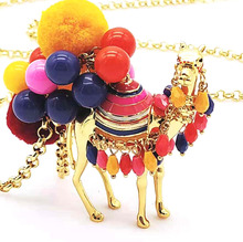 CSxjd Hot selling color hair ball desert camel fashion ladies sweater chain necklace wholesale