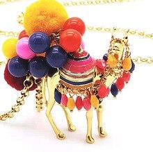 CSxjd di vendita Caldo palla di capelli di colore desert camel signore di modo della catena del maglione della collana del commercio allingrosso