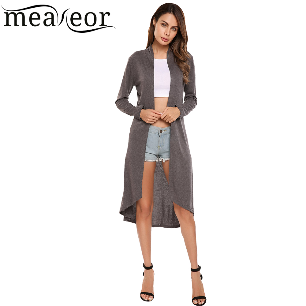 300f07688e5e2 Meaneor Women Long Sleeve Cardigans Open Front Plus Size 3XL Windbreaker  2018 Autumn Summer High Low Hem Long Joker Coat Outwear