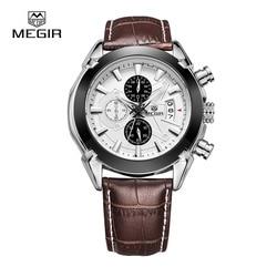 Megir Watch Mens Watches Top Brand Fashion Leather Sports Quartz Watch For Man Military Chronograph Wrist Watches Men Army Style