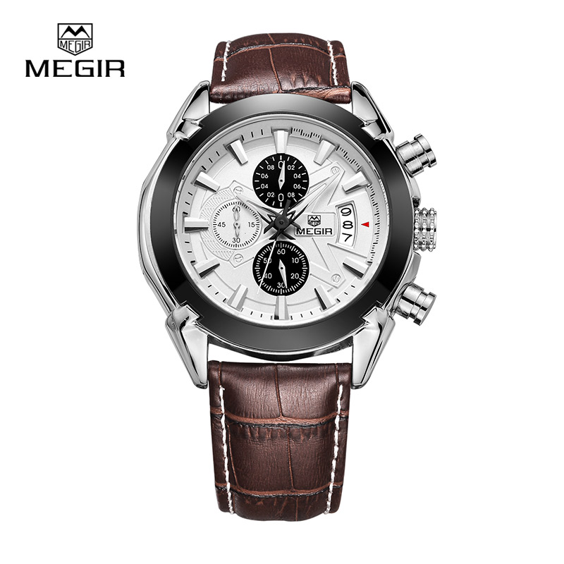 Megir Watch Mens Watches Top Brand Fashion Leather Sports Quartz Watch For Man Military Chronograph Wrist Watches Men Army Style