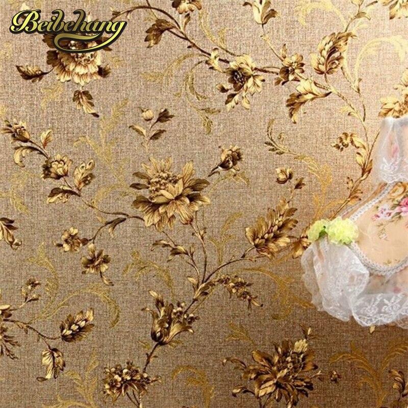 Beibehang De Luxe Floral papier Peint Moderne En Relief Or Papier Peint Pour Les Murs Papel De Parede Rouleau de Papier Peint Tapete Vinyle