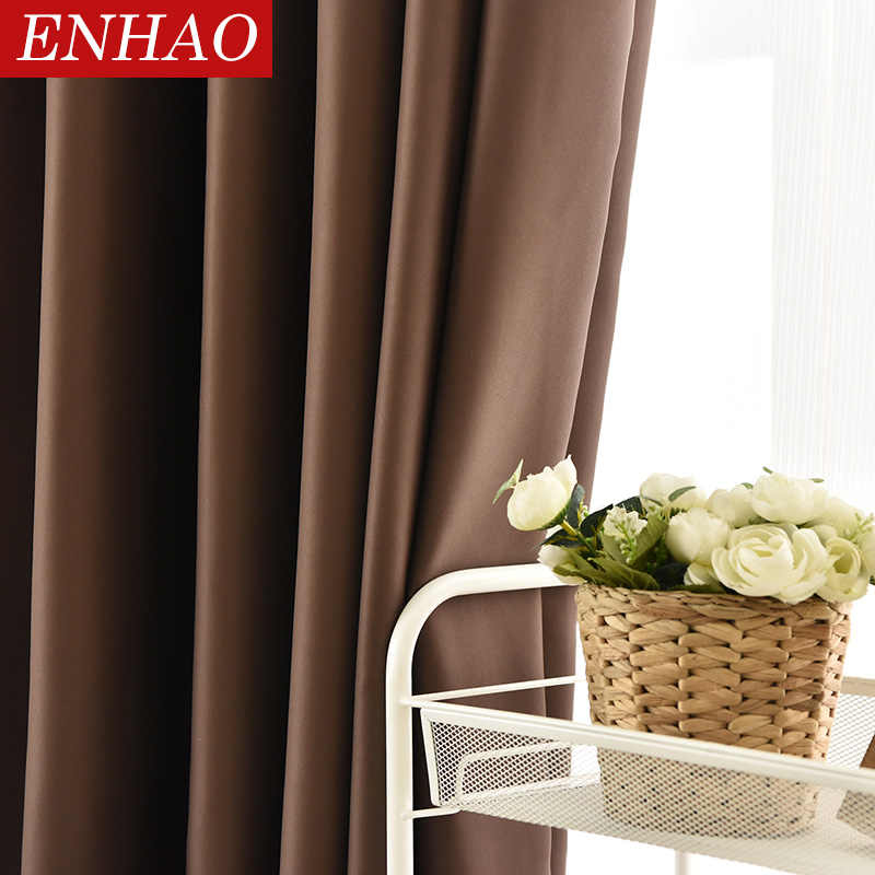 ENHAO Modern Solid Blackout Curtains for Living Room Bedroom Kitchen Curtains for Window Finished Curtains Drapes Blinds Panel