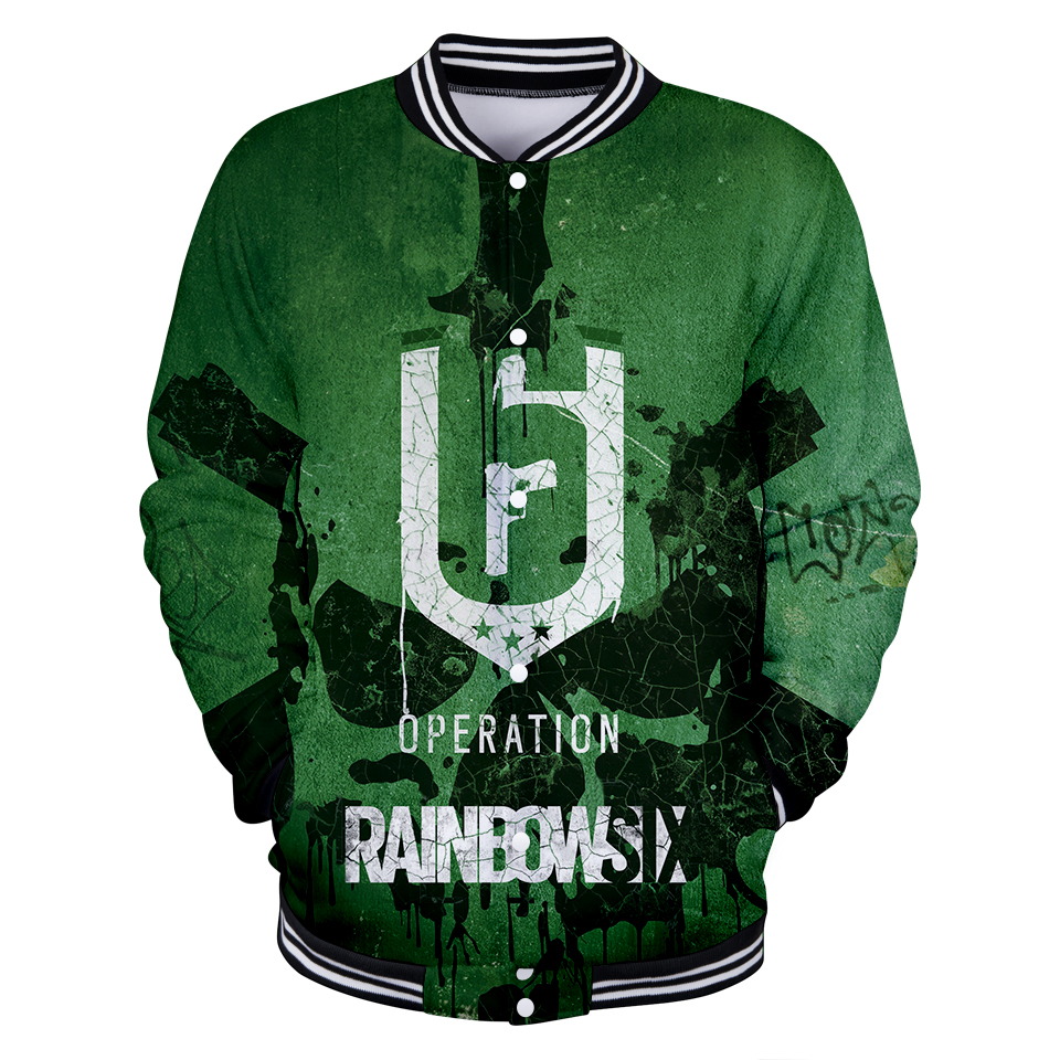 2018 3D Fashion jacket new brand Funny print rainbow six siege with V-neck long sleeve Cool baseball jacket for women plus size