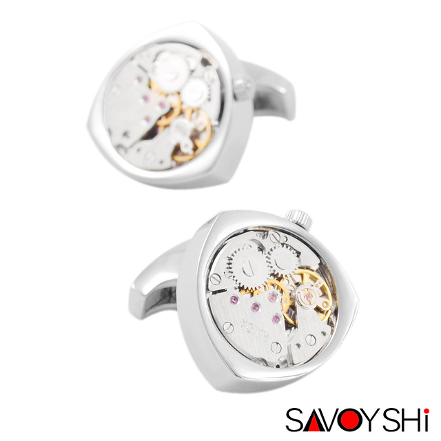 SAVOYSHI Jewelry Shirt Cufflins for Mens Brand Cuff Button 3 Color Watch Movement Cuff Link High Quality  Free Shipping
