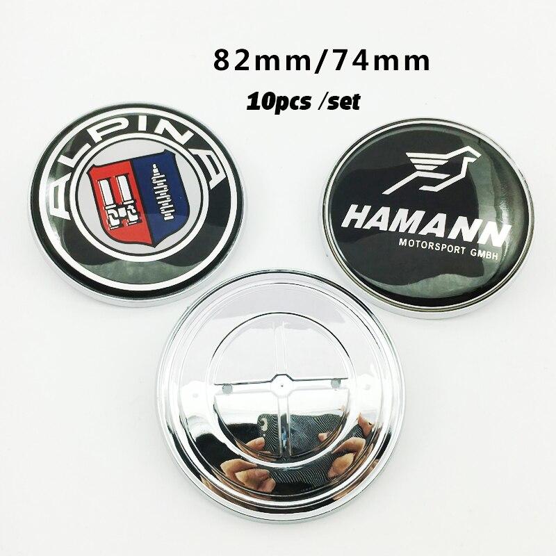 10pcs 82mm 74mm Chrome Base Car Front Hood Emblem Bonnet Badge Trunk Boot Cap Carbon Fiber Aluminum decals car body stickers