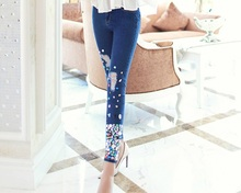 YSP001 Diamond feet Stretch Jeans/Embroidered Flares Pencil pants Jeans/Stretch denim cotton jeans/2size/beaded clothes also