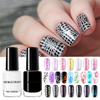 NICOLE DIARY Nail Stamping Polish Set Black White Gold Nail Art Printing Varnish Manicure Lacquer DIY Design for Stamping Plate