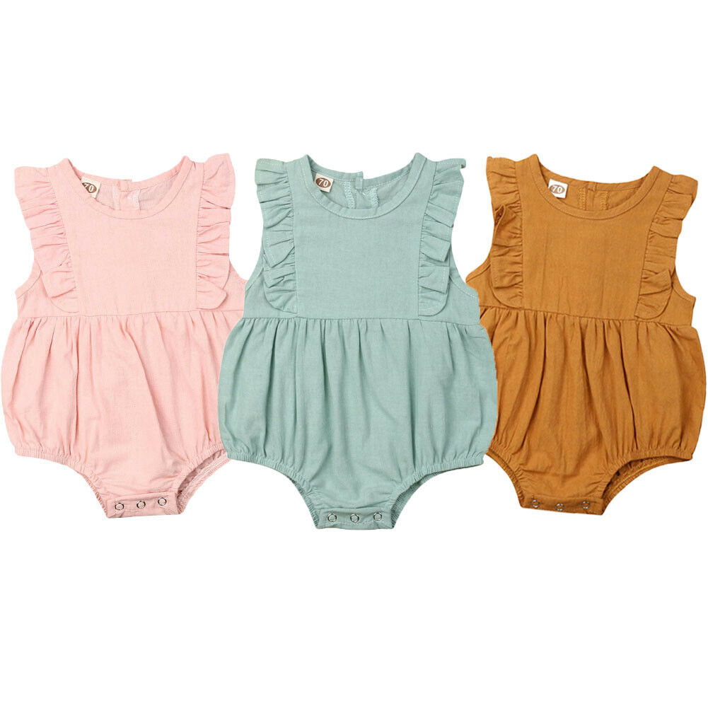 0-24M Cute Newborn Infant Baby Girl Clothes Flutter Sleeveless   Romper   Cotton and Linen Jumpsuit Outfit Summer 2019 NEW