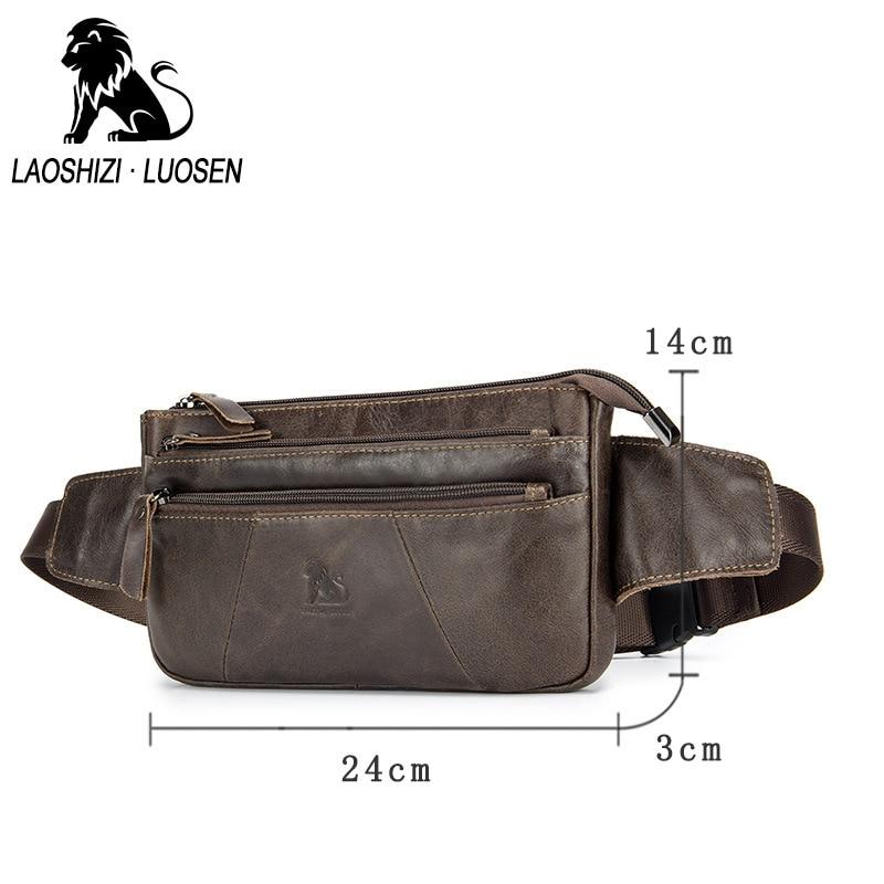 LAOSHIZI LUOSEN New Men Waist Bag Til Telefon Ægte Læder Casual - Bæltetasker - Foto 2