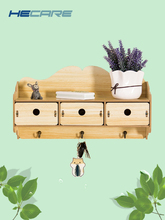 HECARE 2 Styles Available Home Office Decorative Wall Shelf Wood Shelves for Storage Rack with Hooks Wooden Hanger on Door 2019