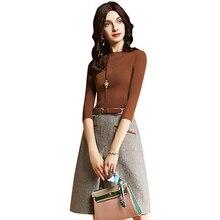 Слово платье Новинки для женщин Одежда высшего качества одноцветное Цвет вязаный плед большие размеры с длинным рукавом Платья для женщин 2018 Демисезонный тонкий two-piece2001
