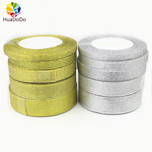 25Yards Golden Silver Glitter Ribbon 6mm 10mm 15mm 20mm 25mm Onions Ribbons Riband For Wedding cake Gift Decoration DIY Craft