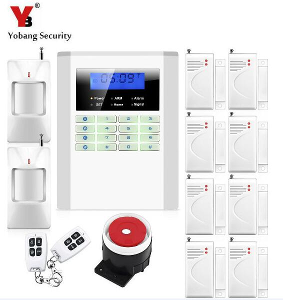 Yobang Security Dual Network Alarma LCD Display Home Wireless GSM Alarm System 850/900/1800/1900mhz Voice Prompt Alarm 850 900 1800 1900mhz russian english spanishwired and wireless lcd home security gsm alarm system